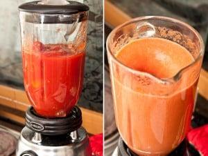triturando tomates para salsa