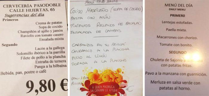 menu del dia madrid