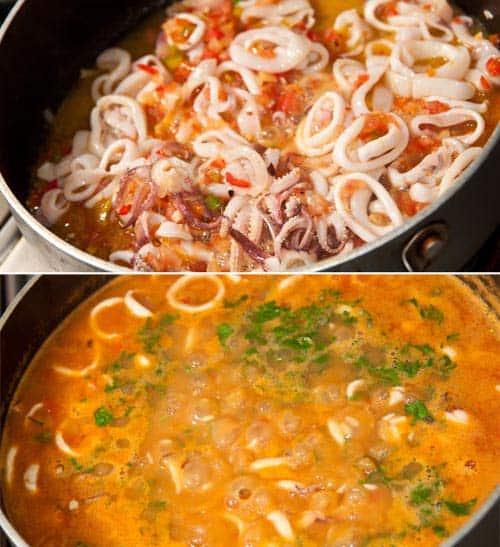 haciendo arroz con calamares