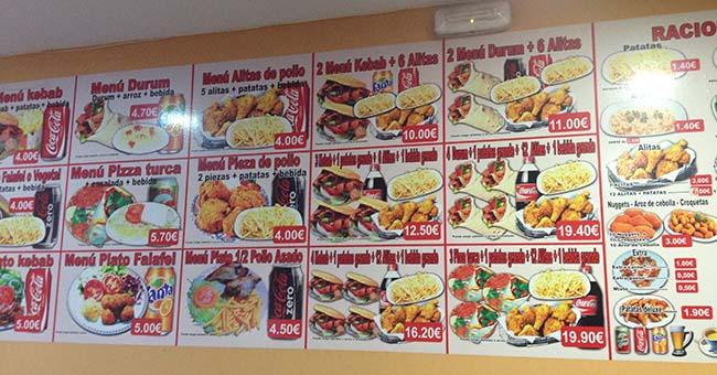menu doner kebab delicias