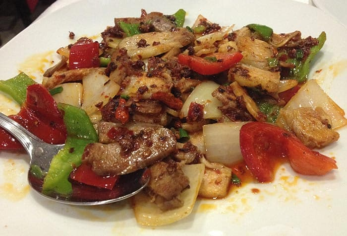 cerdo picante comida china restaurante ni hao madrid