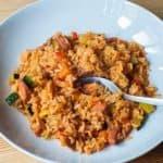 receta rapida arroz guisado calabacin salchichas